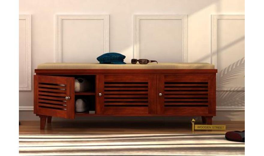 Kathlyn Shoe Cabinet (Honey Finish)-1