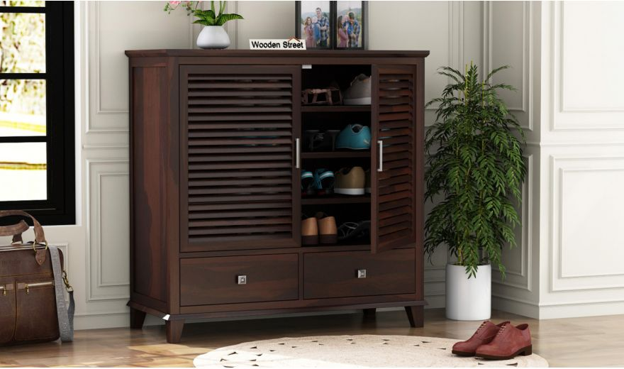 Velvic Footwear Rack With Drawers (Walnut Finish)-1