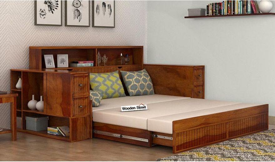 Arley Sofa Cum Bed (Queen Size, Honey Finish)-2
