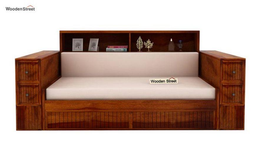 Arley Sofa Cum Bed (Queen Size, Honey Finish)-4