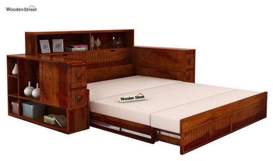 Arley Sofa Cum Bed (Queen Size, Honey Finish)-7