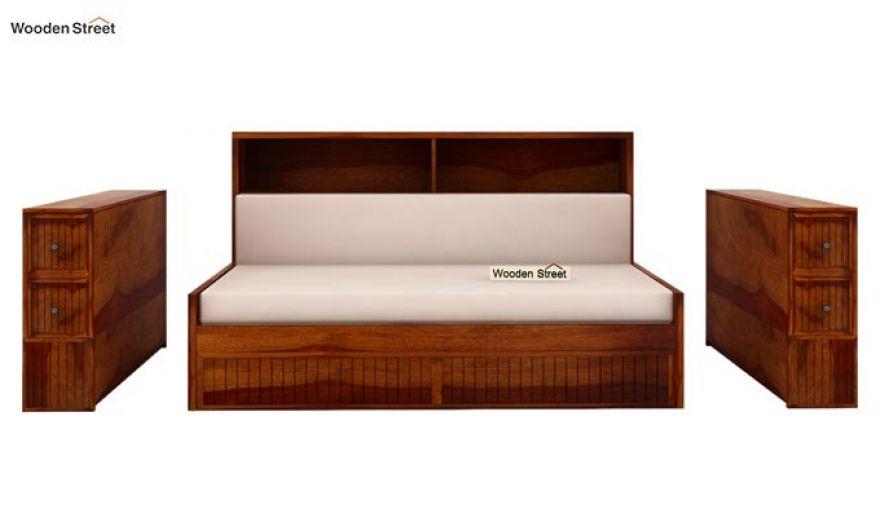 Arley Sofa Cum Bed (Queen Size, Honey Finish)-9