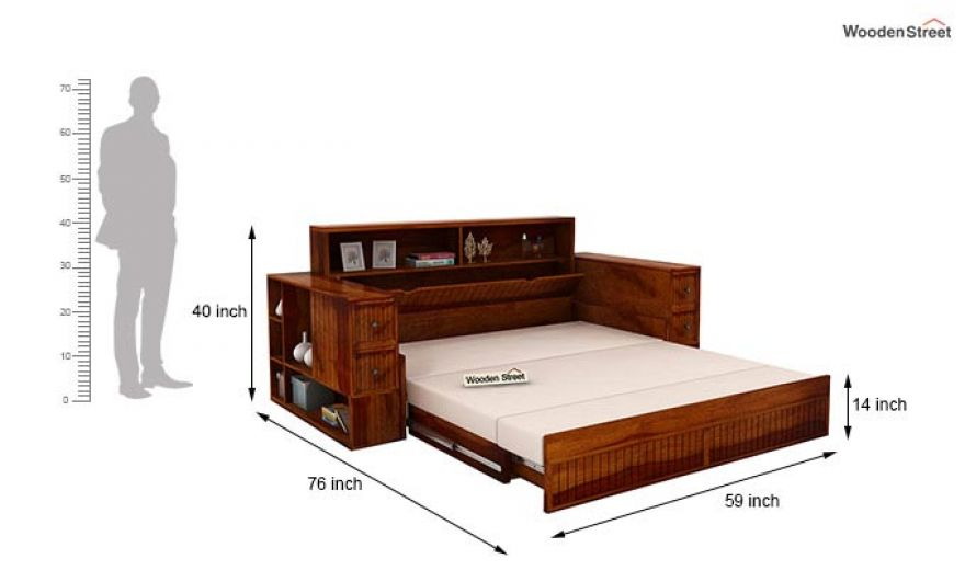 Arley Sofa Cum Bed (Queen Size, Honey Finish)-11