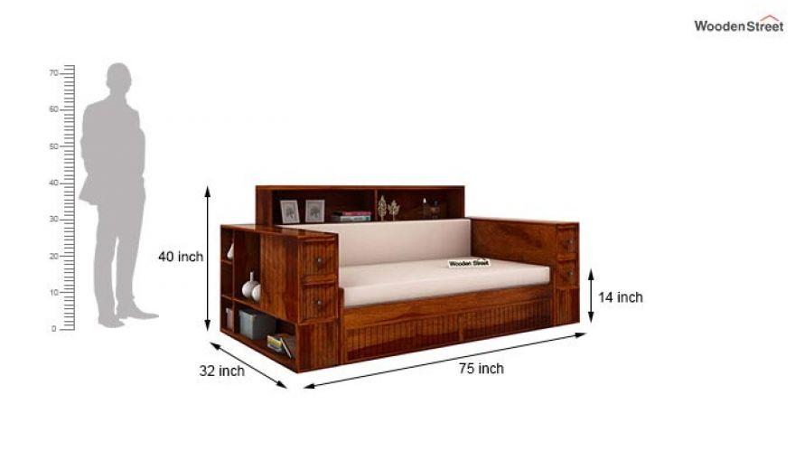 Arley Sofa Cum Bed (Queen Size, Honey Finish)-10