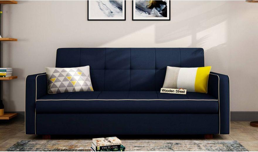 Clarin Fabric Storage Sofa Cum Bed (Indigo Ink)-1