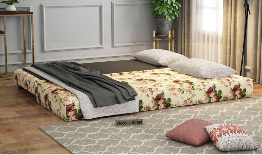 Corvis Fabric Sofa Cum Bed (Cream Blossom)-2
