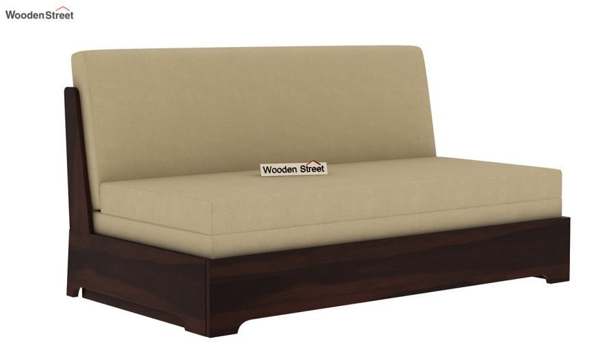 Della Sofa Cum Bed Without Armrests (Walnut Finish)-3