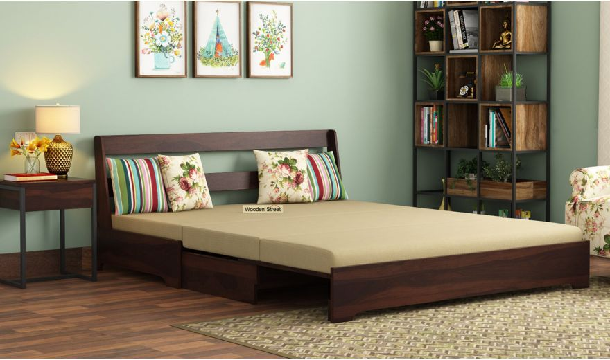 Della Sofa Cum Bed Without Armrests (Walnut Finish)-2