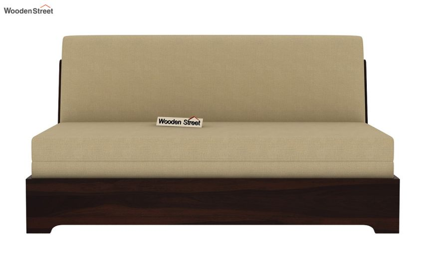 Della Sofa Cum Bed Without Armrests (Walnut Finish)-4