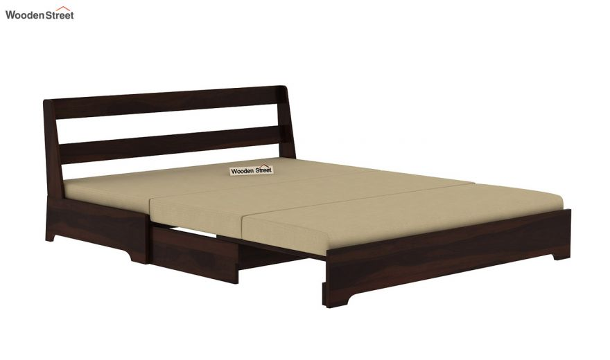 Della Sofa Cum Bed Without Armrests (Walnut Finish)-5