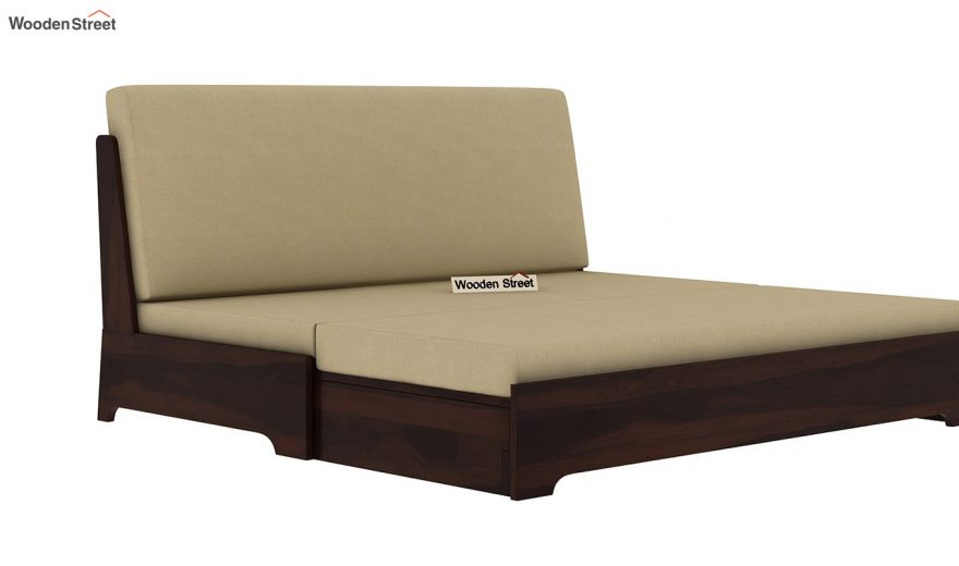 Della Sofa Cum Bed Without Armrests (Walnut Finish)-10