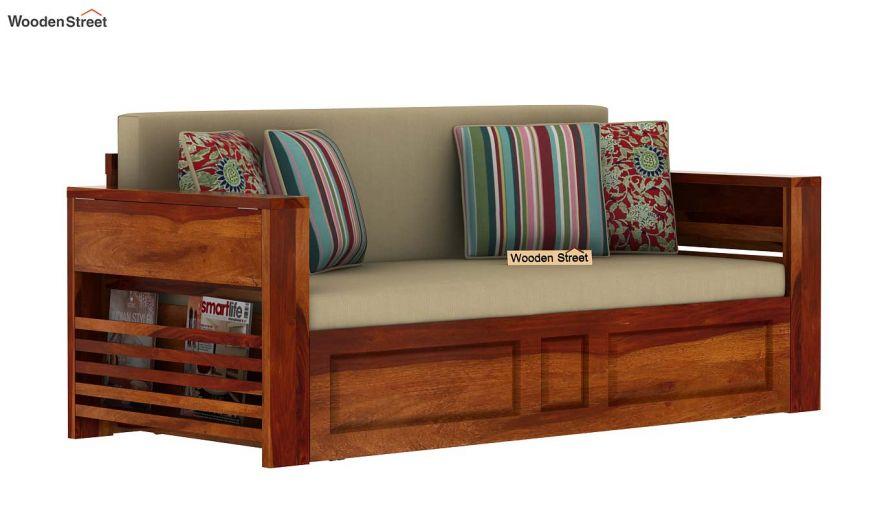 Feltro Bed Cum Sofa (King Size, Honey Finish)-3