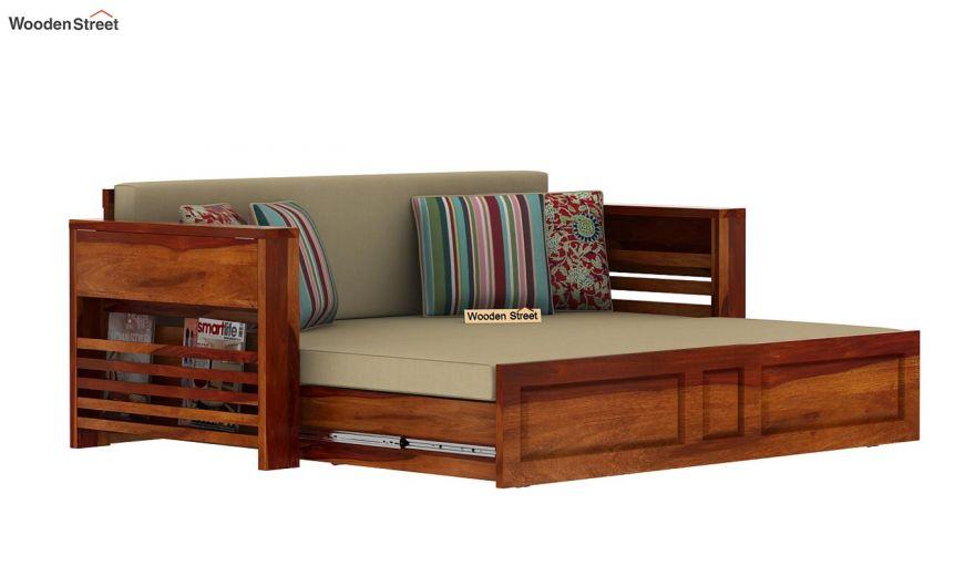 Feltro Bed Cum Sofa (King Size, Honey Finish)-12