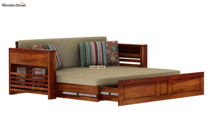 Feltro Bed Cum Sofa (King Size, Honey Finish)-13