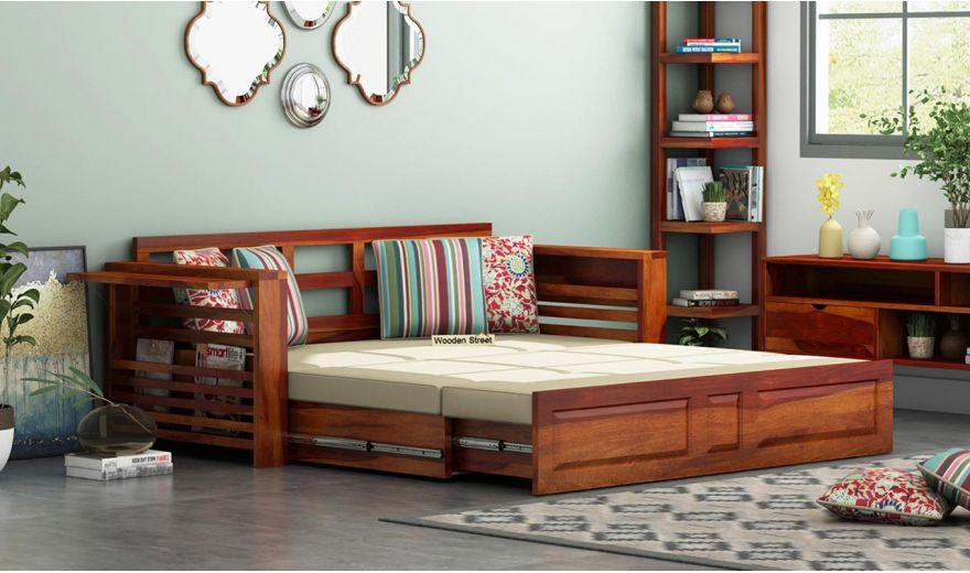 Feltro Bed Cum Sofa (King Size, Honey Finish)-2