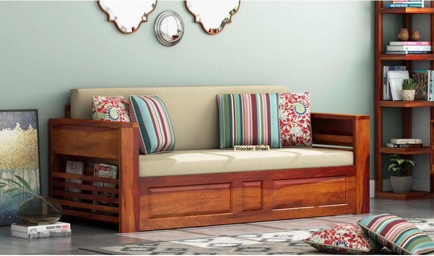 Feltro Bed Cum Sofa (King Size, Honey Finish)-1