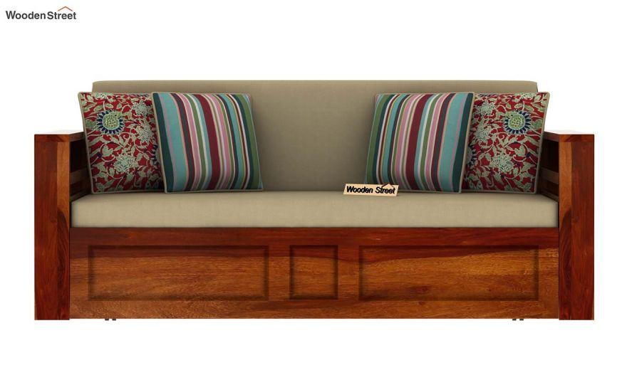 Feltro Bed Cum Sofa (King Size, Honey Finish)-4