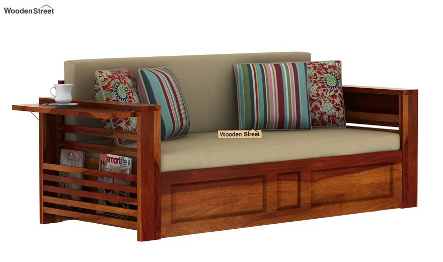 Feltro Bed Cum Sofa (King Size, Honey Finish)-5