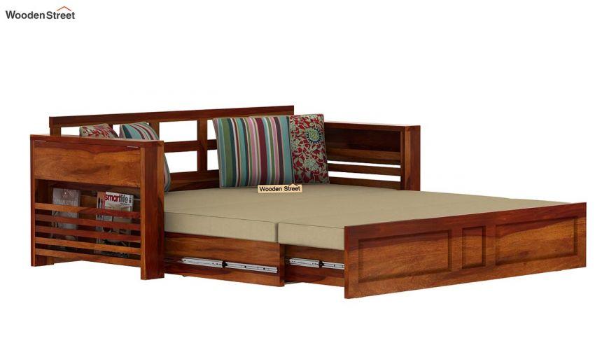 Feltro Bed Cum Sofa (King Size, Honey Finish)-7