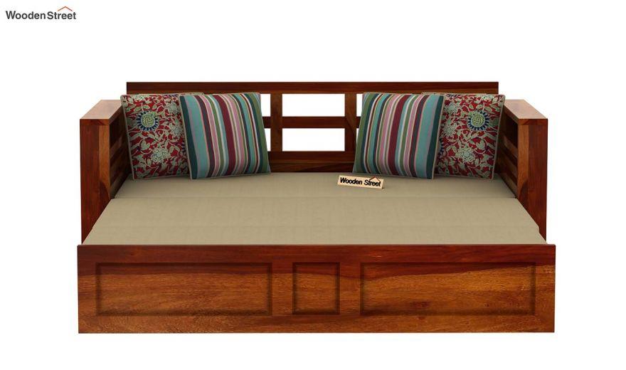 Feltro Bed Cum Sofa (King Size, Honey Finish)-8