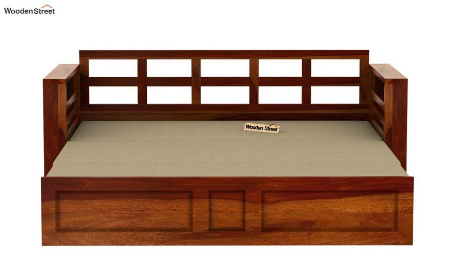 Feltro Bed Cum Sofa (King Size, Honey Finish)-11