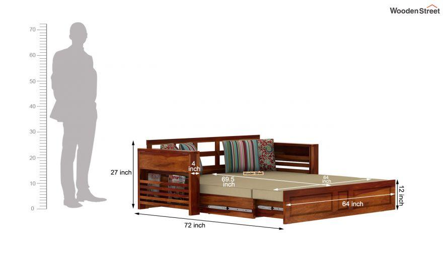 Feltro Bed Cum Sofa (King Size, Honey Finish)-15