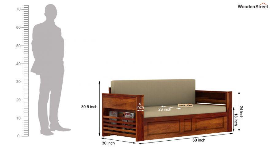 Feltro Bed Cum Sofa (Queen Size, Honey Finish)-14