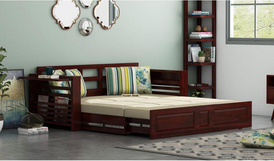 Feltro Bed Cum Sofa (King Size, Mahogany Finish)-2