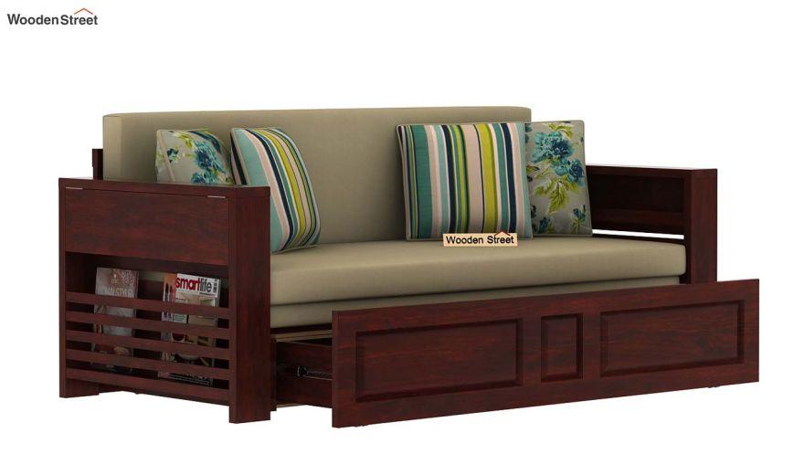 Feltro Bed Cum Sofa (King Size, Mahogany Finish)-6