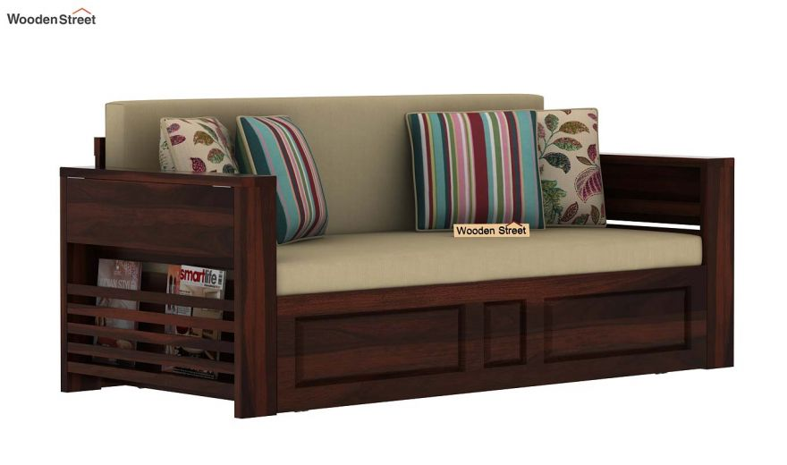 Feltro Bed Cum Sofa (Queen Size, Walnut Finish)-3