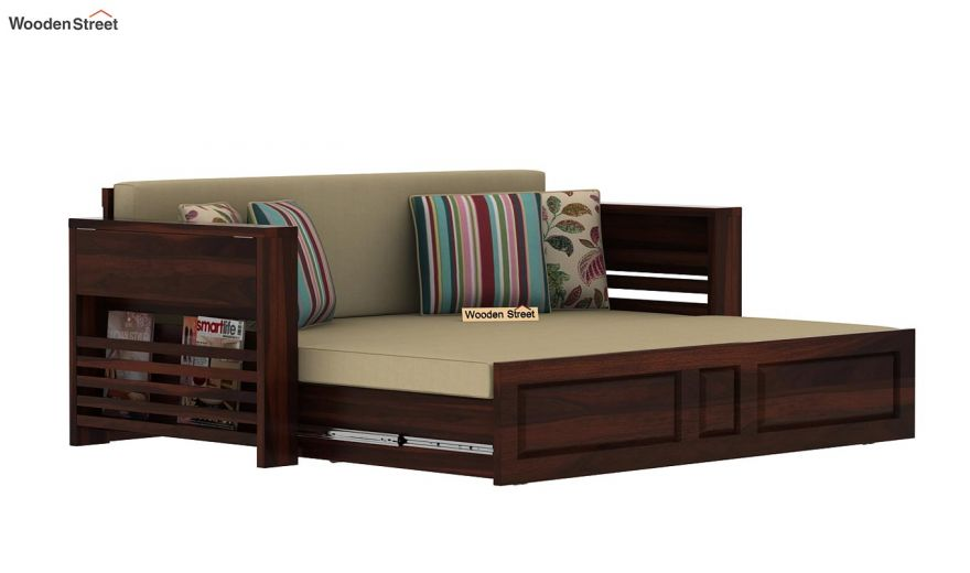 Feltro Bed Cum Sofa (Queen Size, Walnut Finish)-12