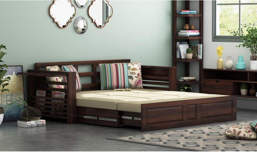 Feltro Bed Cum Sofa (Queen Size, Walnut Finish)-2