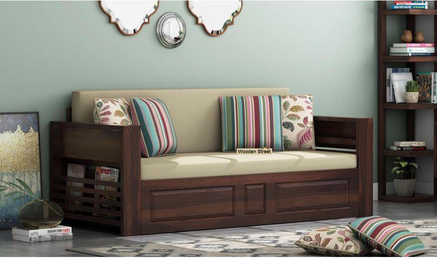 Feltro Bed Cum Sofa (Queen Size, Walnut Finish)-1