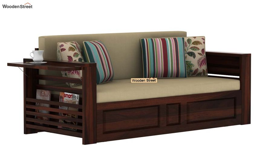 Feltro Bed Cum Sofa (King Size, Walnut Finish)-5