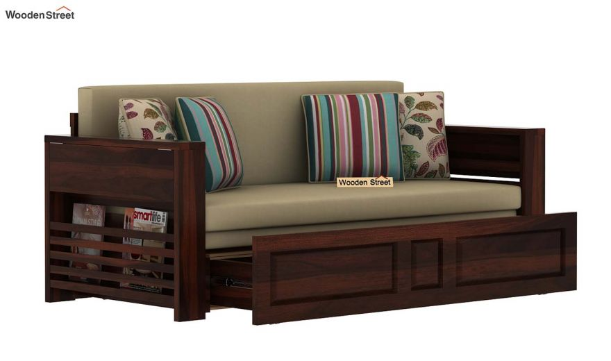 Feltro Bed Cum Sofa (Queen Size, Walnut Finish)-6