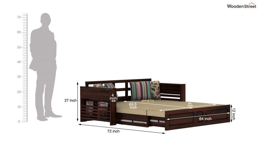 Feltro Bed Cum Sofa (King Size, Walnut Finish)-15