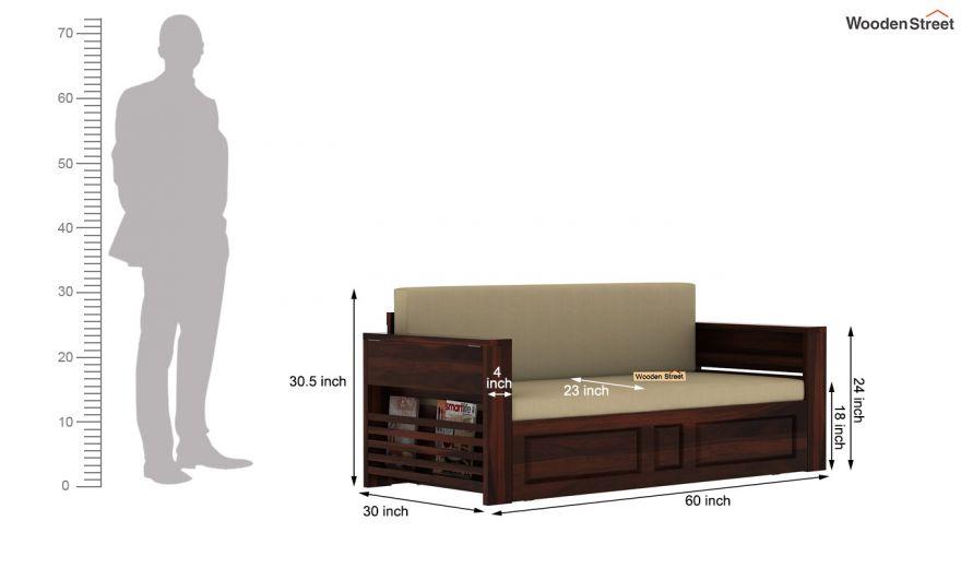 Feltro Bed Cum Sofa (Queen Size, Walnut Finish)-14