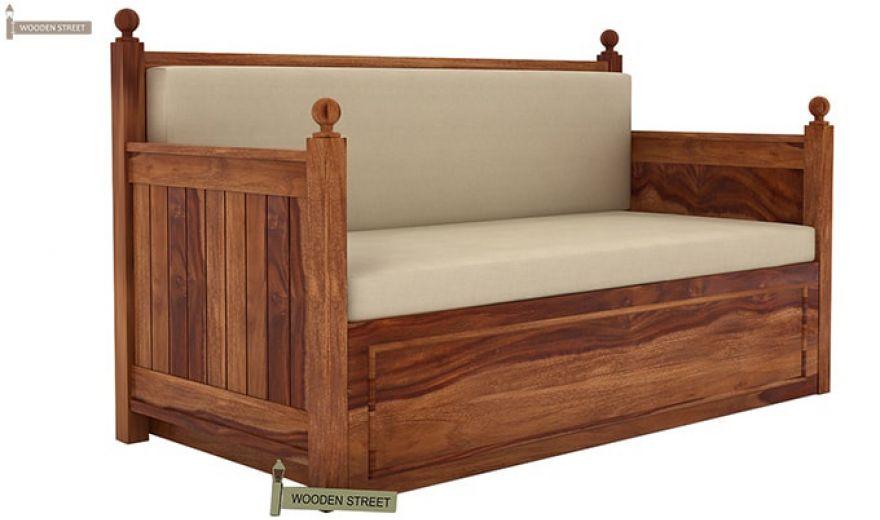 Gerrick Sofa Cum Bed (King size, Teak Finish)-2
