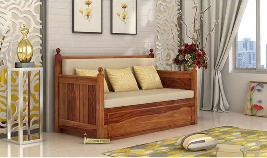 Gerrick Sofa Cum Bed (King size, Teak Finish)-1