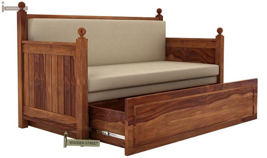 Gerrick Sofa Cum Bed (King size, Teak Finish)-4