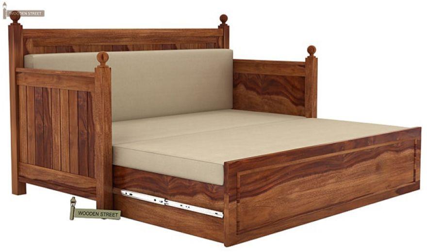 Gerrick Sofa Cum Bed (King size, Teak Finish)-7
