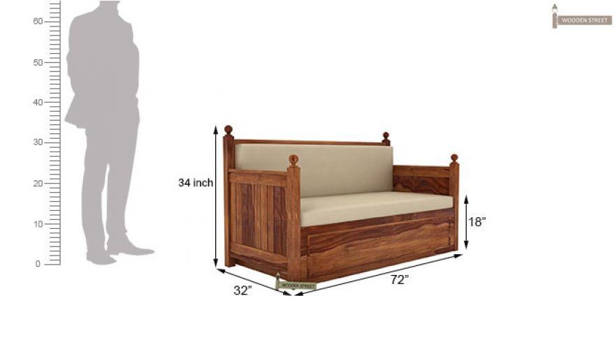 Gerrick Sofa Cum Bed (King size, Teak Finish)-8
