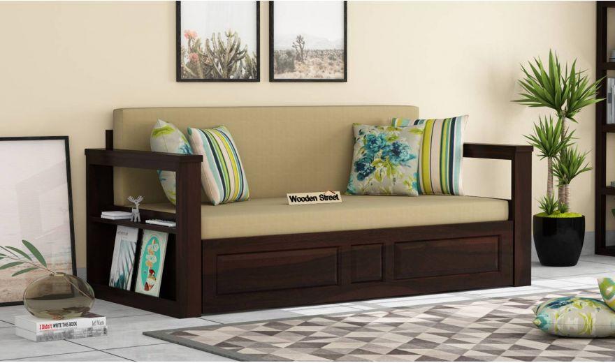Riota Sofa Cum Bed With Storage (Queen Size, Walnut Finish)-1