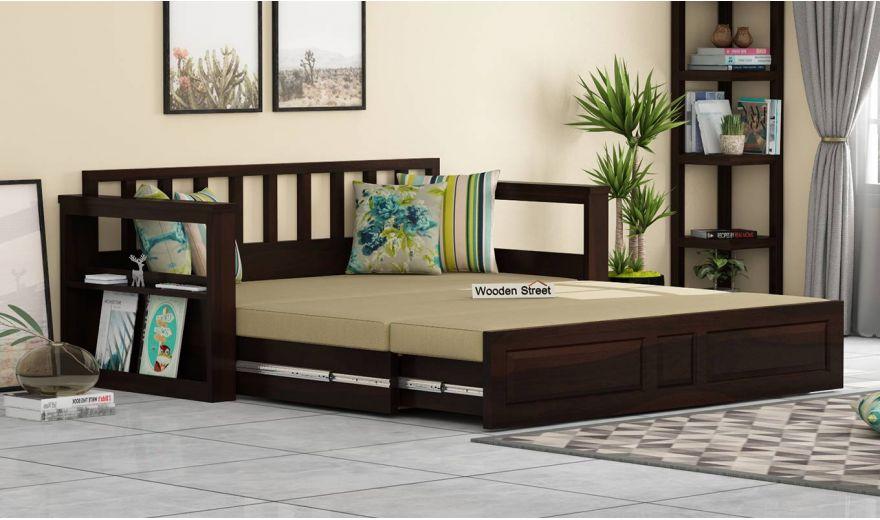 Riota Sofa Cum Bed With Storage (Queen Size, Walnut Finish)-2