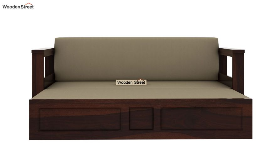 Riota Sofa Cum Bed With Storage (Queen Size, Walnut Finish)-8