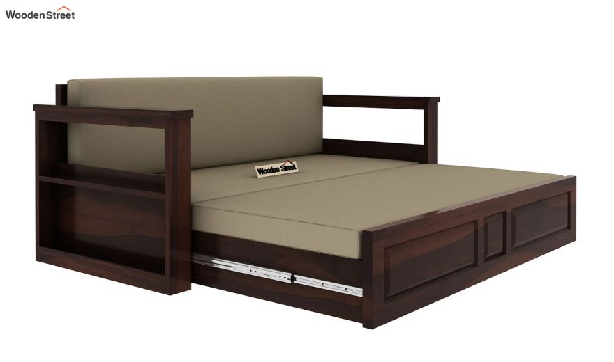 Riota Sofa Cum Bed With Storage (Queen Size, Walnut Finish)-7