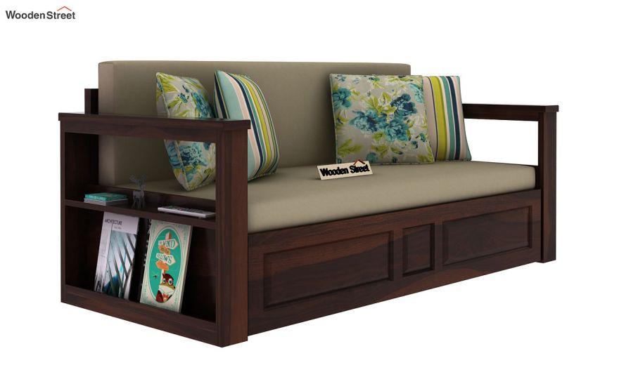 Riota Sofa Cum Bed With Storage (Queen Size, Walnut Finish)-3