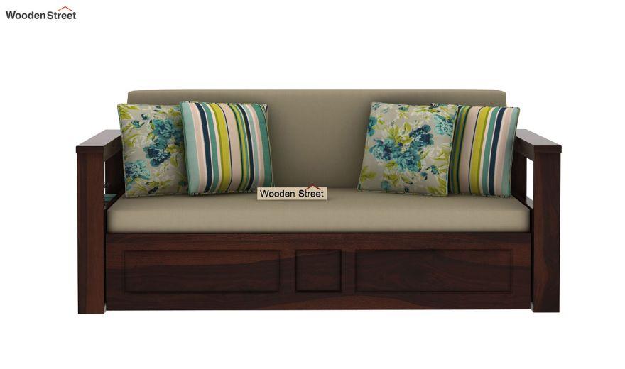 Riota Sofa Cum Bed With Storage (Queen Size, Walnut Finish)-4
