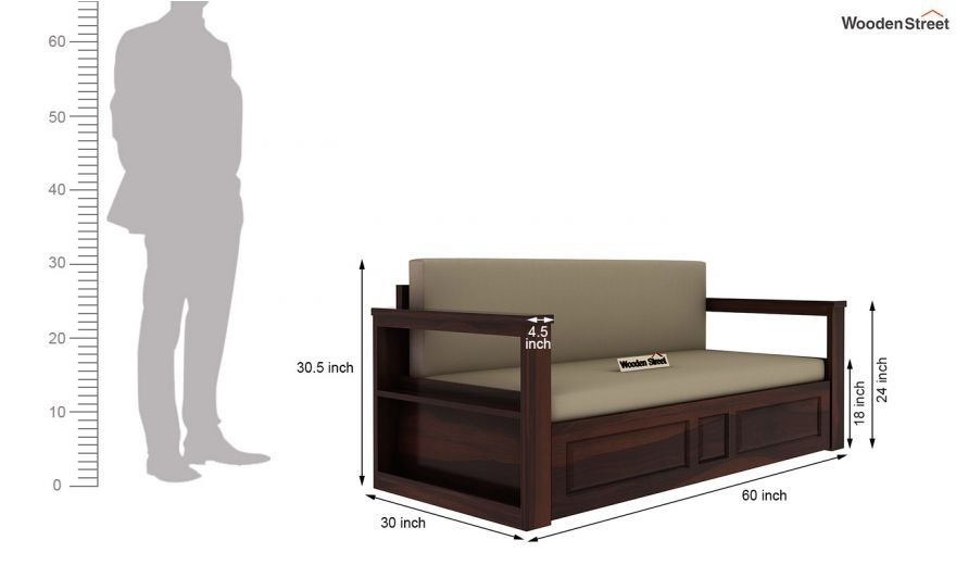 Riota Sofa Cum Bed With Storage (Queen Size, Walnut Finish)-13