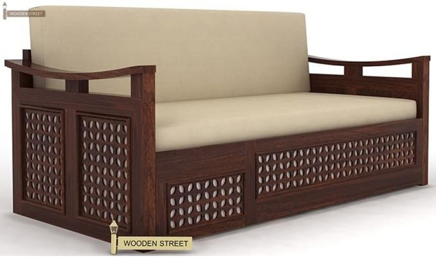 Treviso Sofa Cum Bed (Queen Size, Walnut Finish)-3